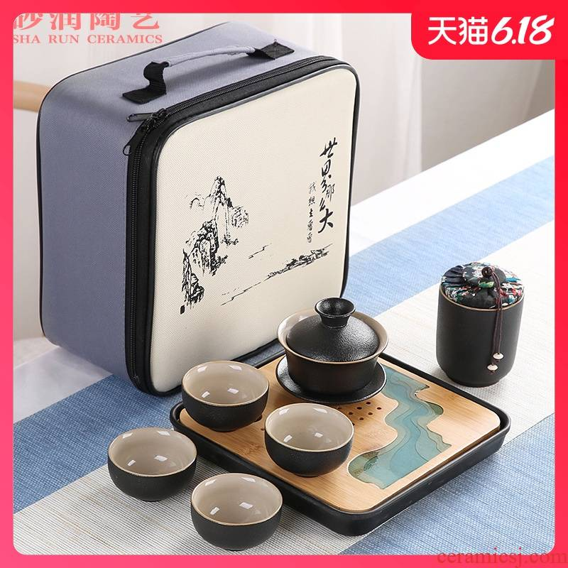 Sand embellish kung fu tea set of black suit household contracted ceramic Japanese is suing travel portable package small dry tea tray