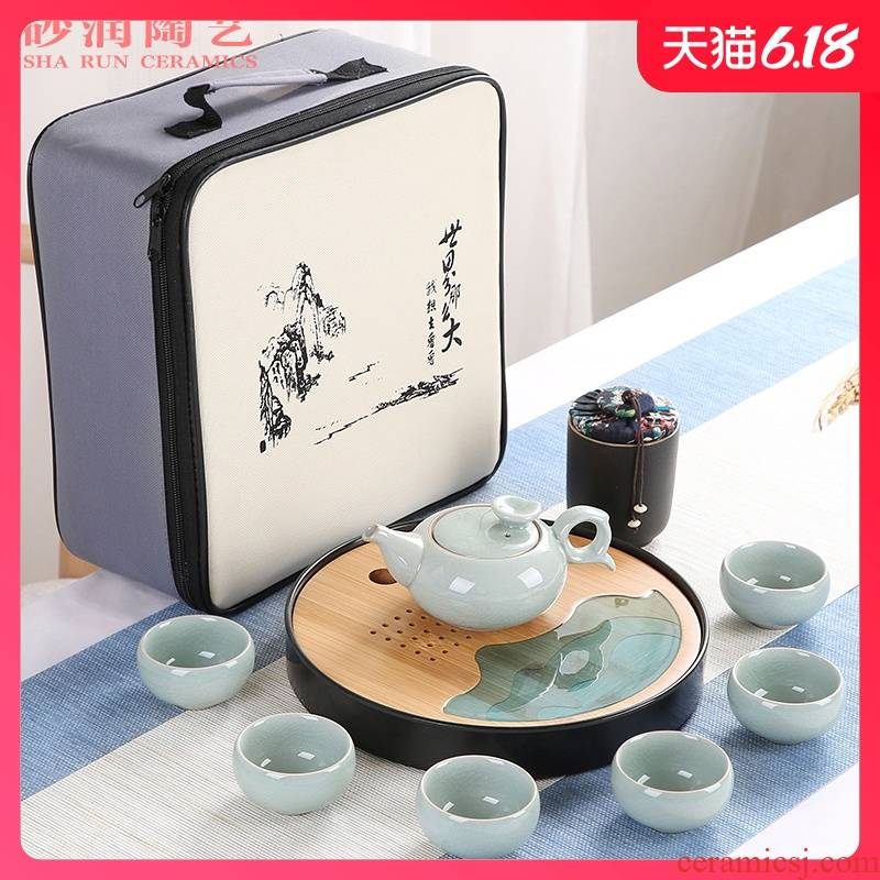 Sand embellish elder brother up travel your up ceramic tea set household contracted Japanese office small round tray was portable package