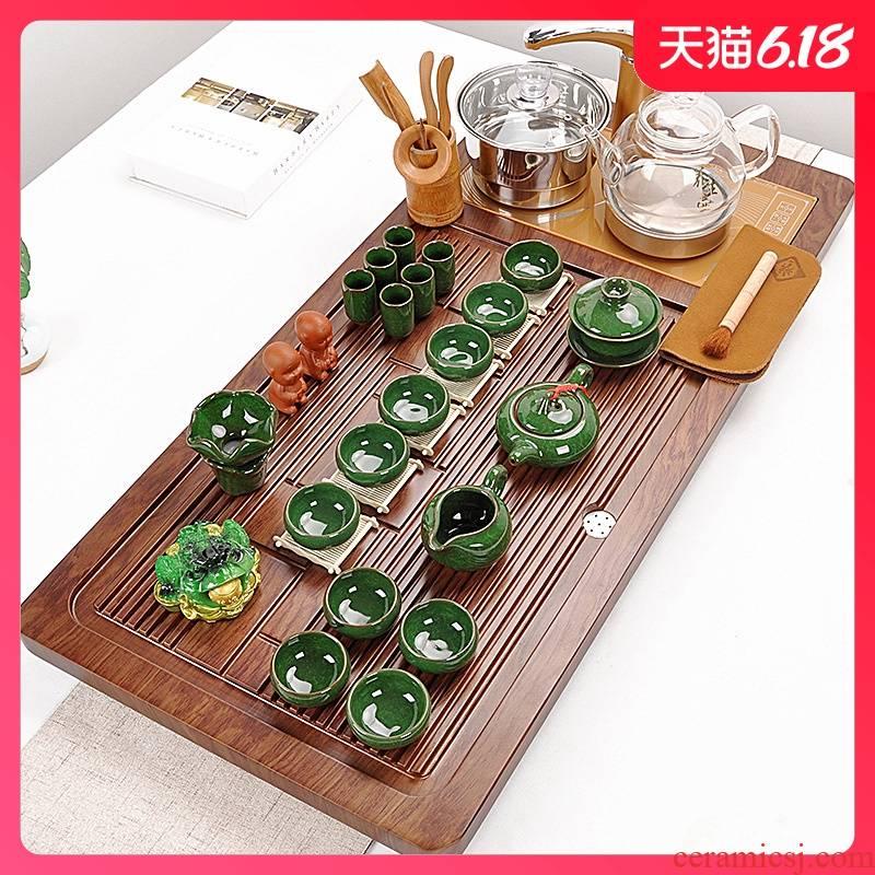 Tea set with violet arenaceous kung fu Tea set solid wood Tea tray Tea sets Tea Tea sea contracted automatic glass