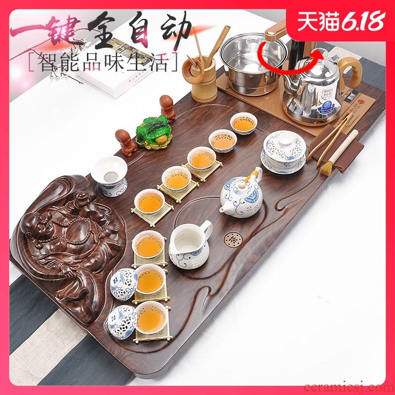 Tea set purple ice crack glaze kung fu Tea set solid wood Tea tray automatic induction cooker four unity