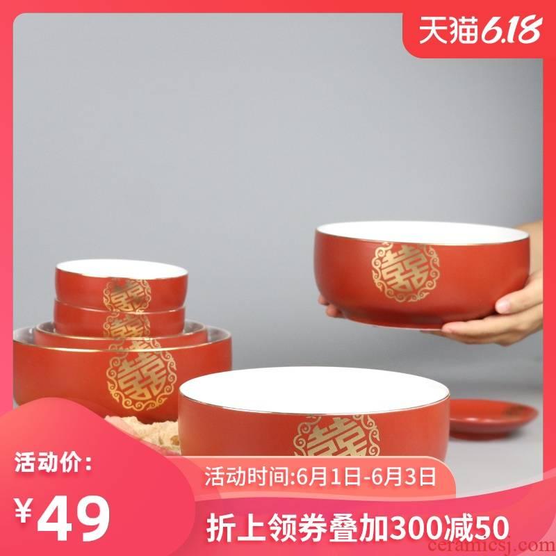 I swam festival ceramic bowl noodles bowl home Mary always big rainbow such use wedding red bowl chopsticks tableware
