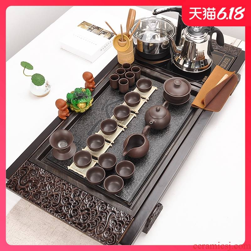 Sharply stone tea set suit household automatic four unity contracted purple ceramic kung fu tea set solid wood tea tray
