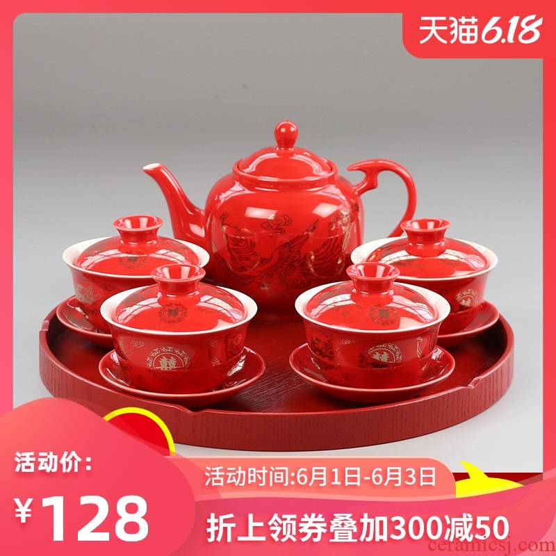I swim anniversary picking worship worship the teapot teacup suit tureen teapot festival ceramic Chinese wedding dowry