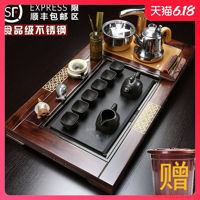 Sand run a complete set of tea service suit household contracted violet arenaceous solid wood tea tray automatic ceramic cups kung fu tea