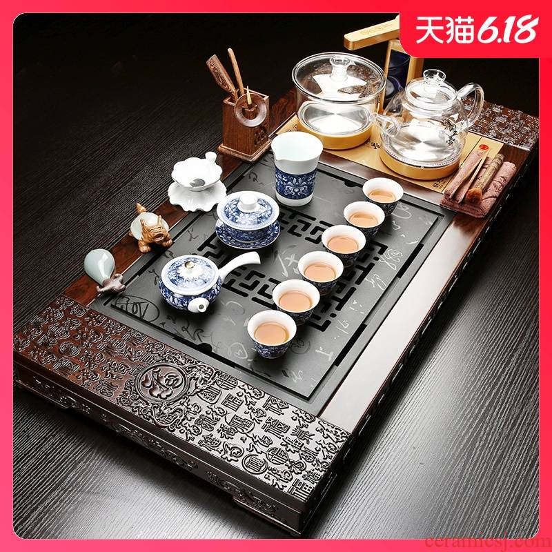Sand embellish ebony tea set of a complete set of kung fu tea set household spend pear wenge wenge wood tea tray