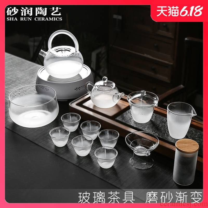 Sand embellish heat - resistant glass tea set suit household contracted Japanese cooking electric teapot atomization frosted TaoLu kung fu tea