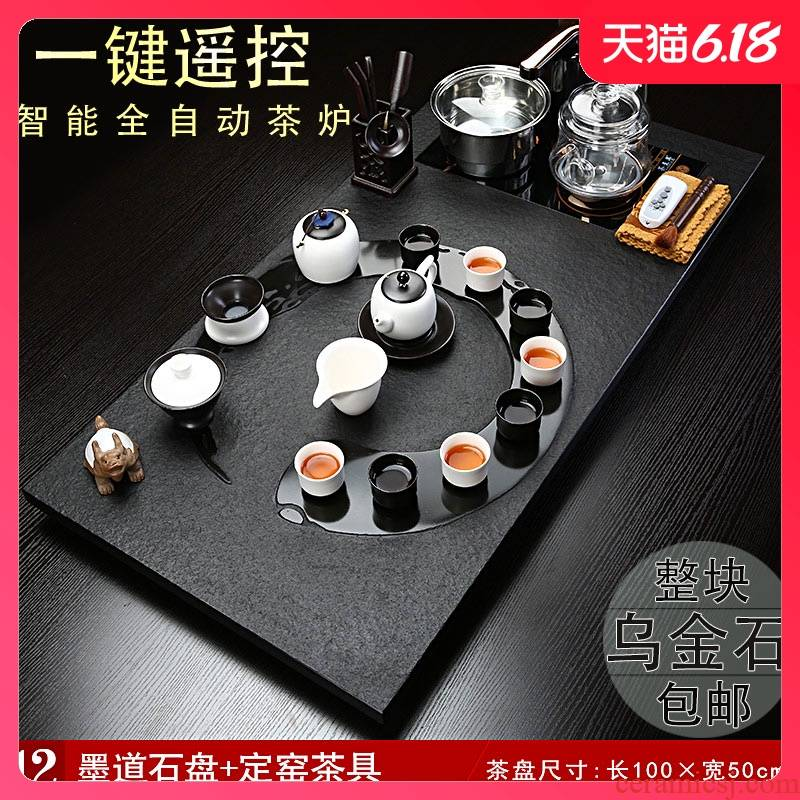 Sand embellish pottery natural stone tea tray was sharply ceramic tea set suits for large stone tea machine automatic induction cooker