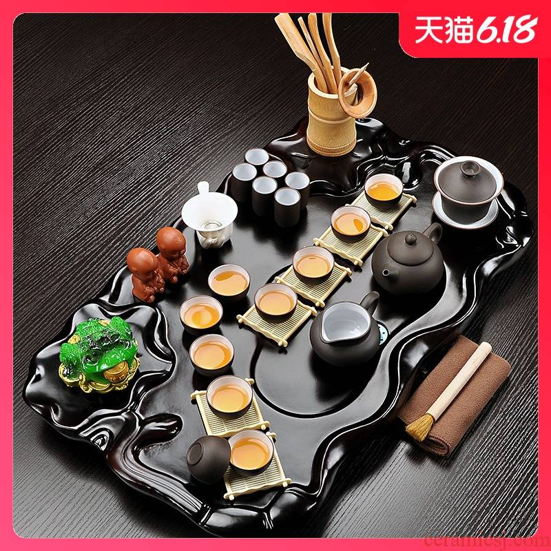 Sand embellish tea set suit household contracted kung fu tea set solid wood tea tray of a complete set of ceramic purple Sand tea cups of tea