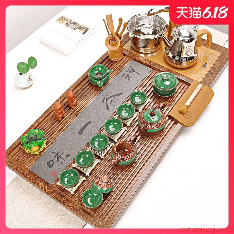 Sand embellish tea set suit household contracted automatic ceramic kung fu tea set solid wood tea tray tea four unity