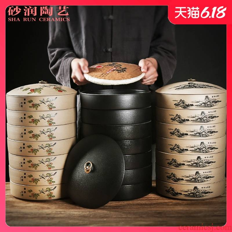 Sand embellish thick ceramic seal caddy fixings black bread seven pu 'er tea cake box packing box the receive ceramic storage tanks