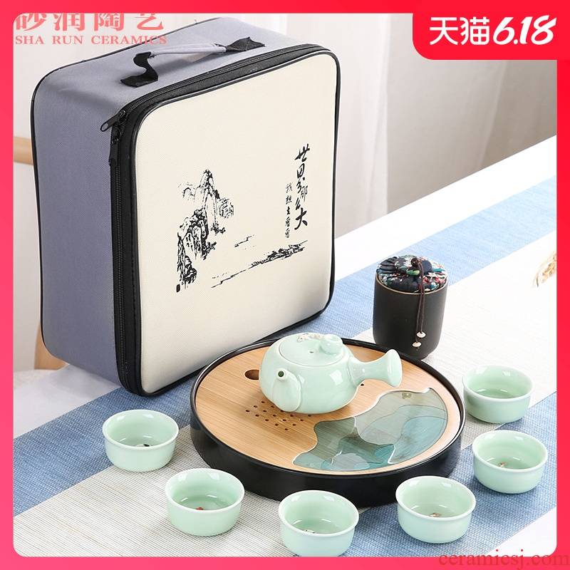Sand embellish celadon ceramic tea set household contracted Japanese office travel small round tray is suing portable package