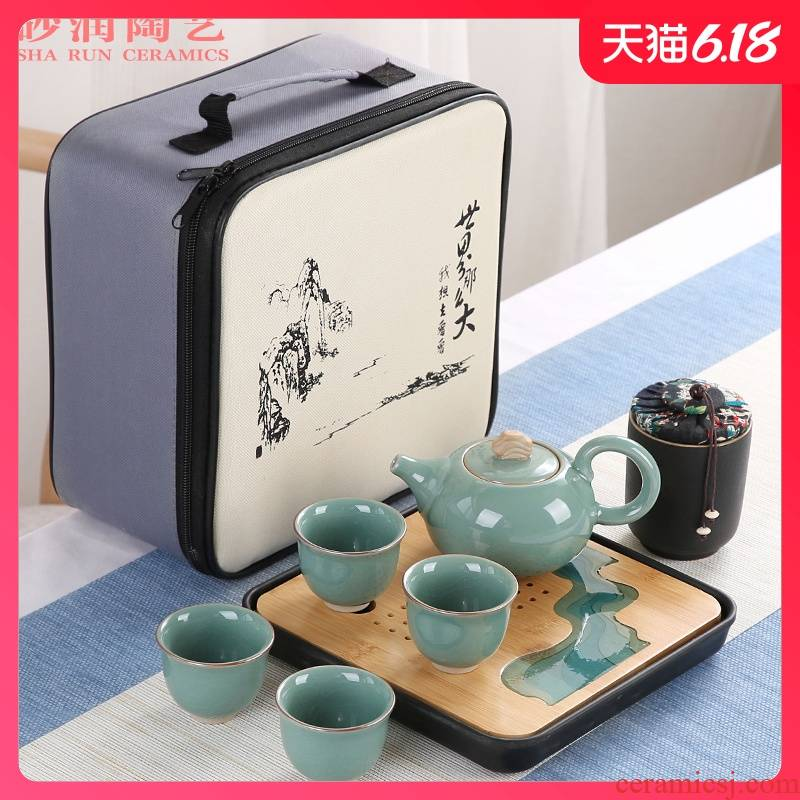 Kung fu tea set household contracted ceramic sand embellish elder brother up with Japanese is suing travel portable package small dry tea tray