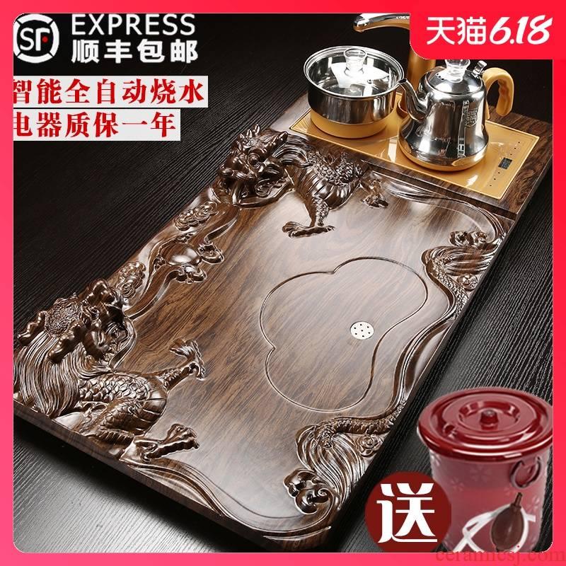 Automatic kung fu tea sets tea tray household ceramics solid wood tea tea saucer snap one induction cooker