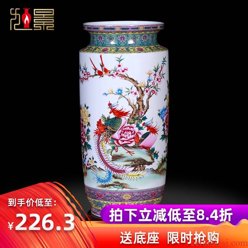 Jingdezhen famille rose porcelain vases, flower arranging flowers and birds painting and calligraphy cylinder characters receive great place to live in the living room a study