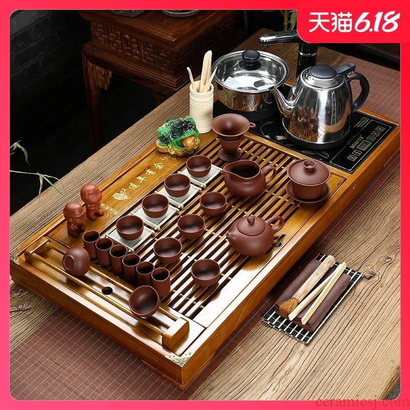 Sand embellish ceramic purple Sand tea set ice crack kung fu tea set a complete set of four solid wood tea tray and induction cooker