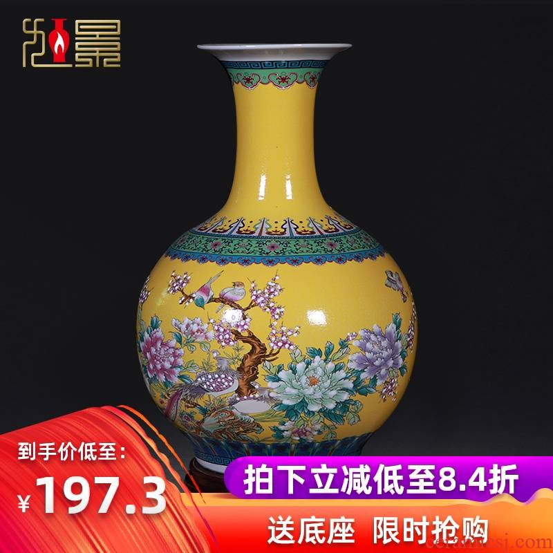 Jingdezhen ceramic large vase furnishing articles European - style colored enamel flower arranging, modern living room home decoration arts and crafts