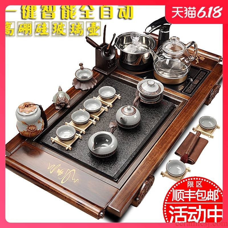 Sand run automatic tea set home health pot of kung fu tea set sharply stone solid wood tea tray of a complete set of tea taking