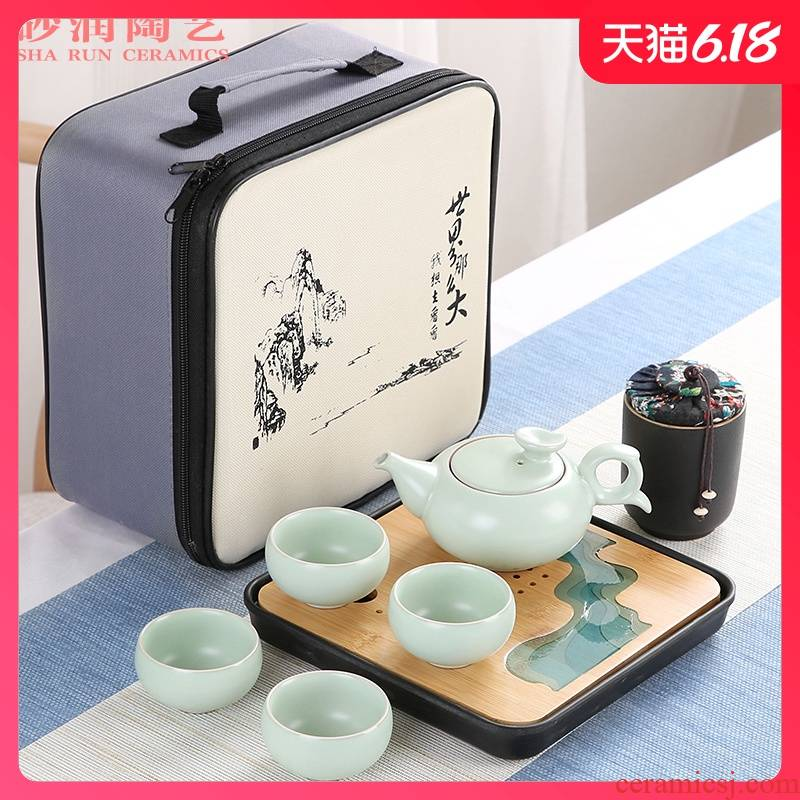 Brother sand embellish your up up kung fu tea set suit household contracted ceramic Japanese travel portable package small dry tea tray