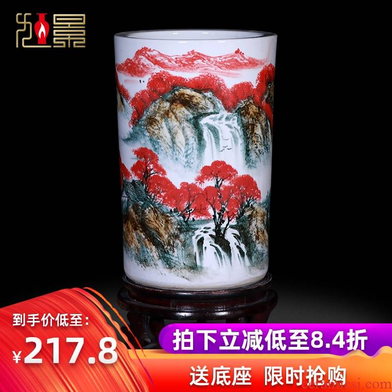 Jingdezhen ceramic vase painting and calligraphy calligraphy and painting scroll cylinder barrel landing large household act the role ofing is tasted, the sitting room to receive cylinder furnishing articles