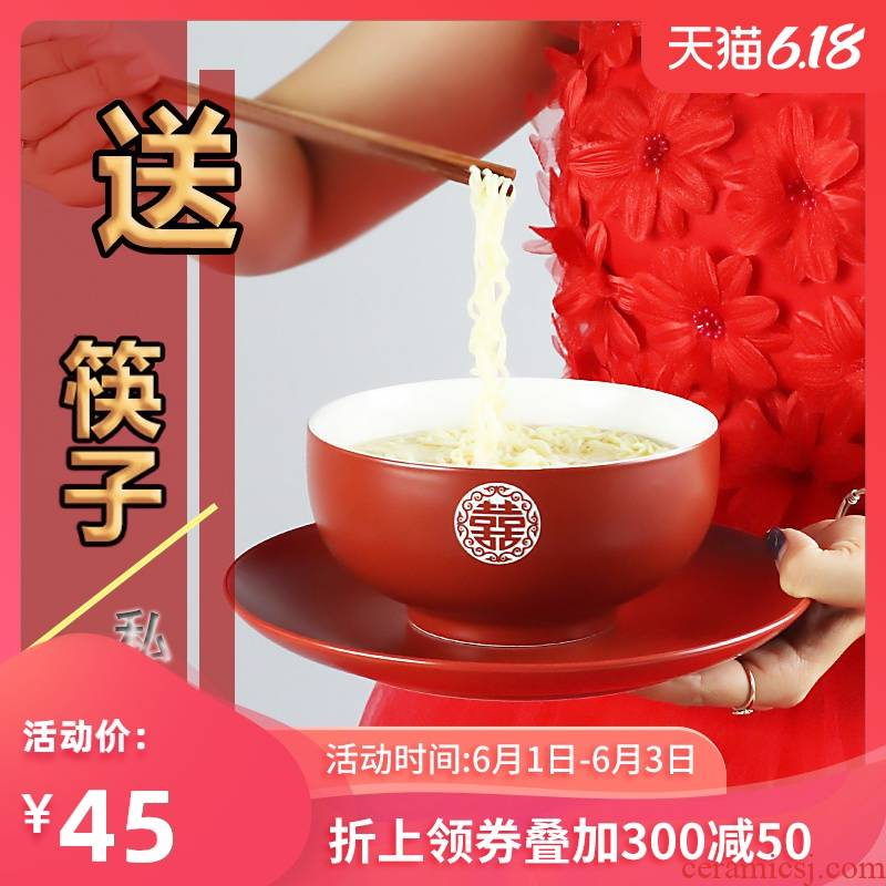 I swim Chinese style wedding big rainbow such use creative ceramic household rainbow such as bowl bowl restaurant mercifully pull such as soup bowl chopsticks can be customized