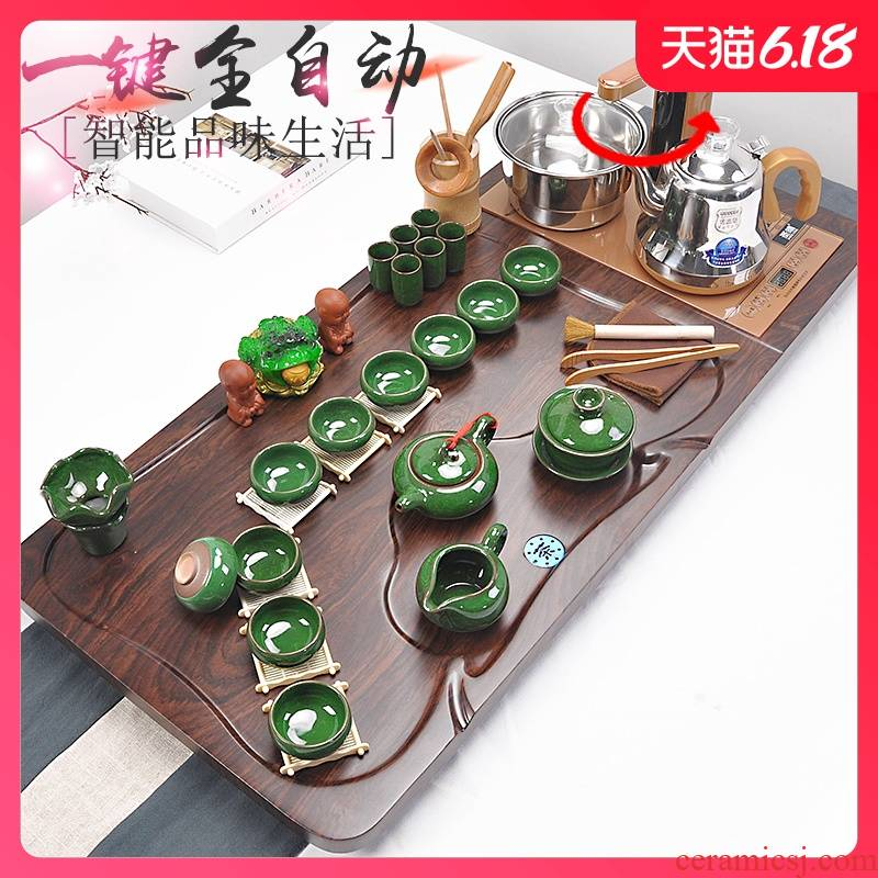 Sand embellish ceramic tea set household ice crack kung fu tea tea set solid wood tea tray automatic induction cooker