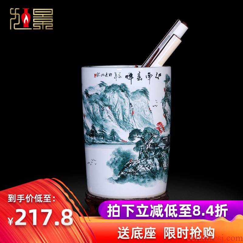 Jingdezhen ceramic vase painting and calligraphy calligraphy and painting scroll cylinder receive tube ground sitting room big flower arranging household act the role ofing is tasted furnishing articles