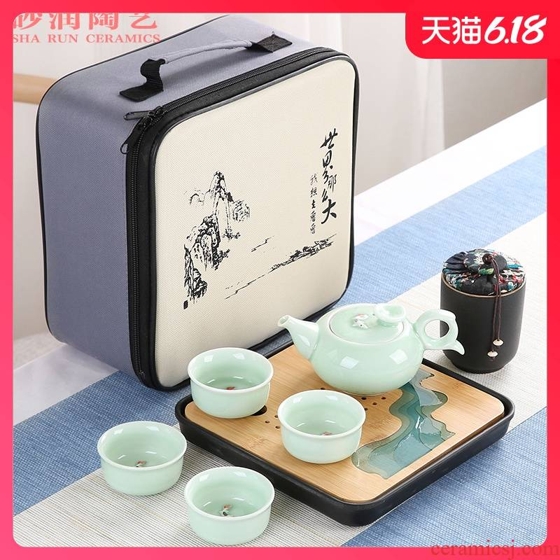 Kung fu tea set household contracted ceramic sand embellish celadon fish Japanese is suing travel all - in portable tea tray