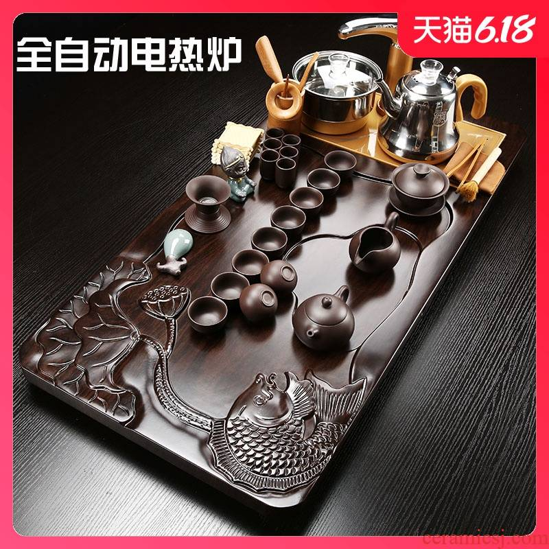 Sand embellish ceramic gold carp lotus tea tray was violet arenaceous gold automatically play electric boiling water tea accessories dross barrels of intelligence