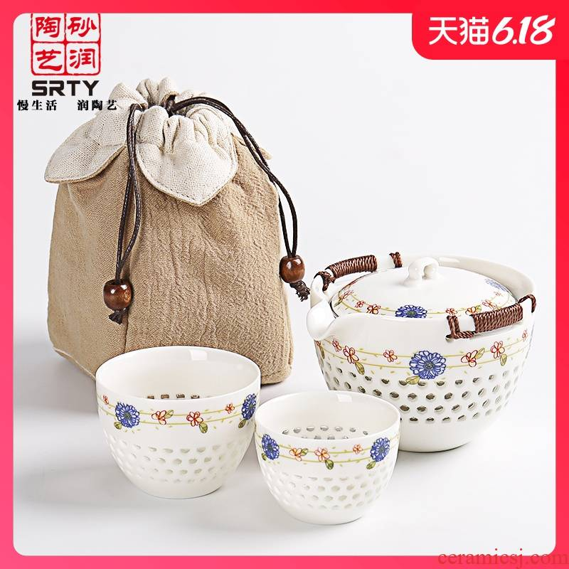 Travel sand embellish ceramic tea set suit portable package of a complete set of exquisite one pot two cup of on - board office creative crack cup