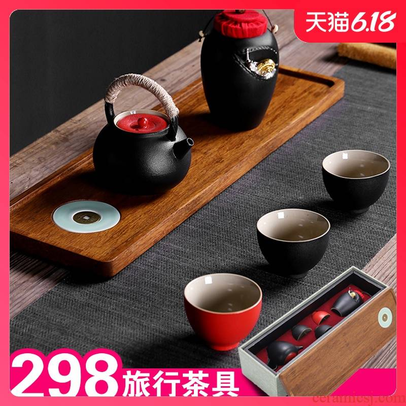 Sand embellish ceramic travel tea set of black suit and contracted Japanese ceramic vehicle is suing teapot portable package