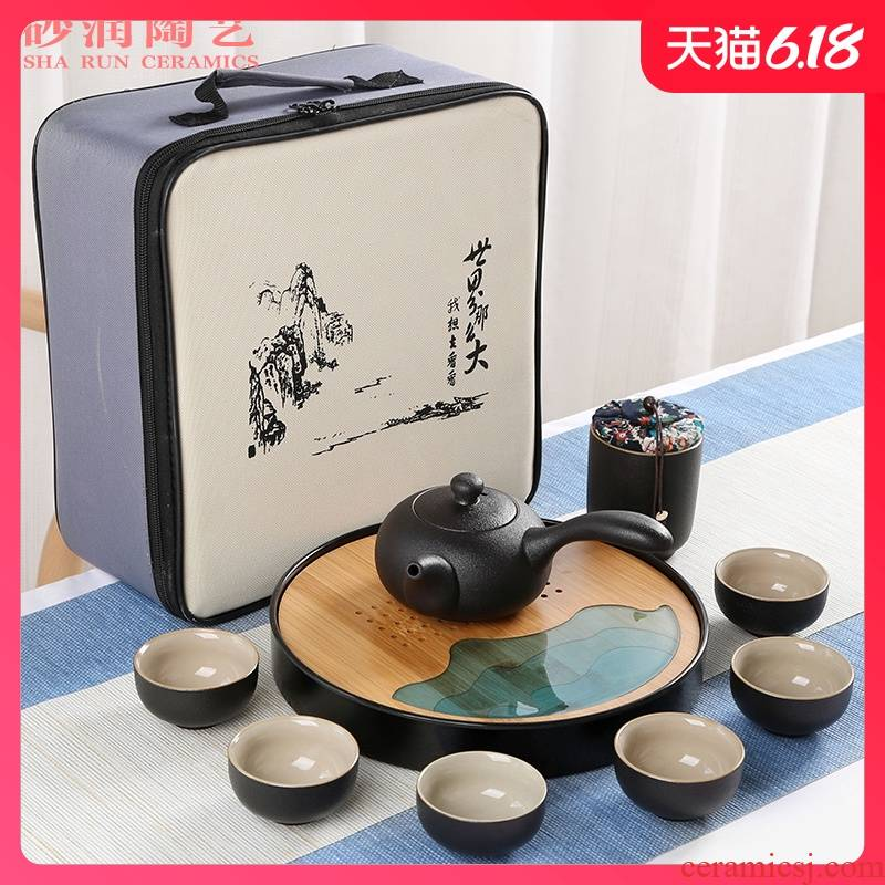 Sand embellish travel of black ceramic tea set household contracted Japanese office small round tray is suing portable package