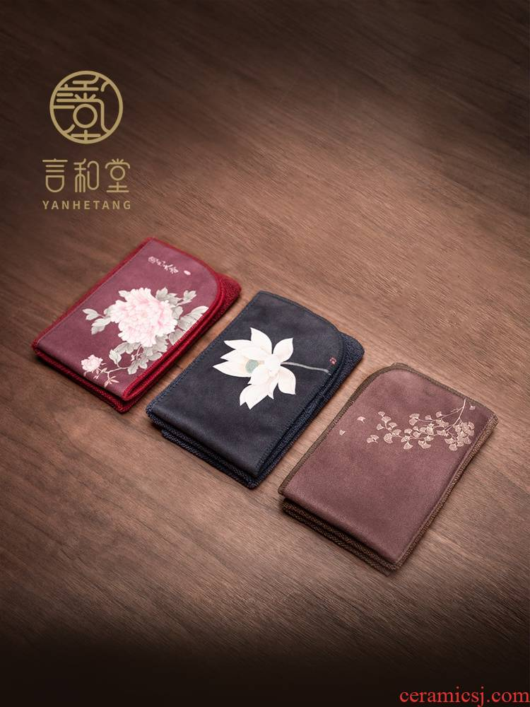 And bibulous printed square hall thickening tea tea towel cloth fine fiber cloth accessories tea towel ground cloth