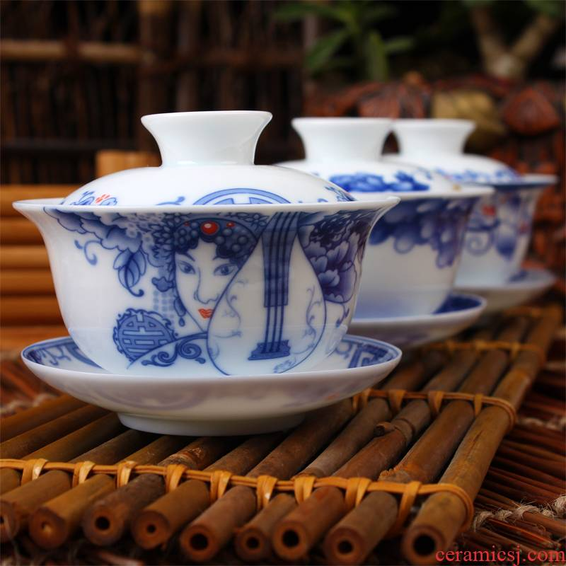 High white thin foetus tureen of blue and white porcelain ceramic cups kung fu tea set large three only a cup of tea for worship to use tea