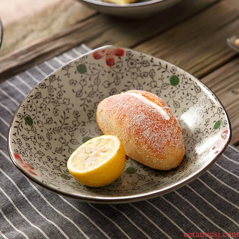 Japanese ceramics 9 - inch triangle plate and the wind creative dishes FanPan fruit platter under glaze color hand - made of plates