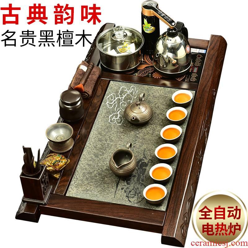 The beginning day, kung fu tea set solid wood tea tray was sharply tea table ebony stone tea tray automatic water heating furnace
