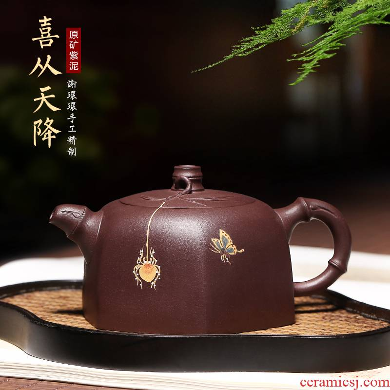 Mingyuan tea pot of yixing it pure manual undressed ore old purple clay teapot the six - party coloured drawing or pattern for private use tea set