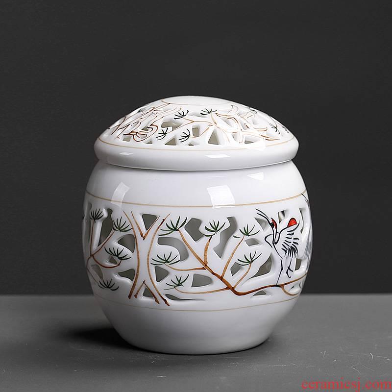 Blue and white porcelain tea pot, small and exquisite hollow out pine crane, prolong storage POTS ceramic double seal tea pot