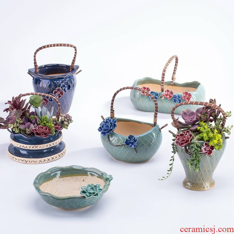 Pinch flower meaty plant pot ceramic coarse pottery cuhk small caliber, lovely creative move coarse pottery breathable specials