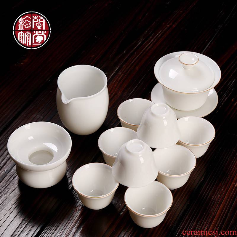 Kung fu tea tea tea tea taking office home tea accessories dehua ceramic whiteware contracted and high