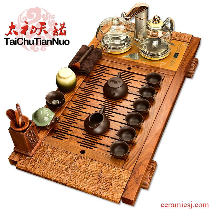 The beginning day, fully automatic four purple sand tea set and kung fu suit annatto cloudworld hua limu tea tea tray