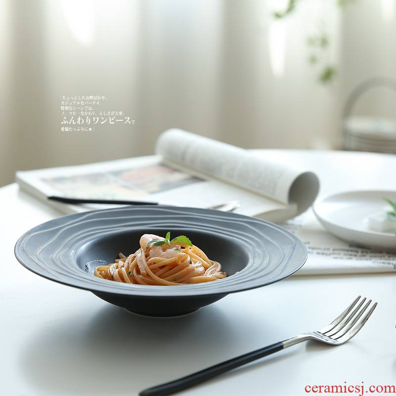 Island house in Japanese creative straw plate household spaghetti western food dish soup plate dessert bowl dish plate