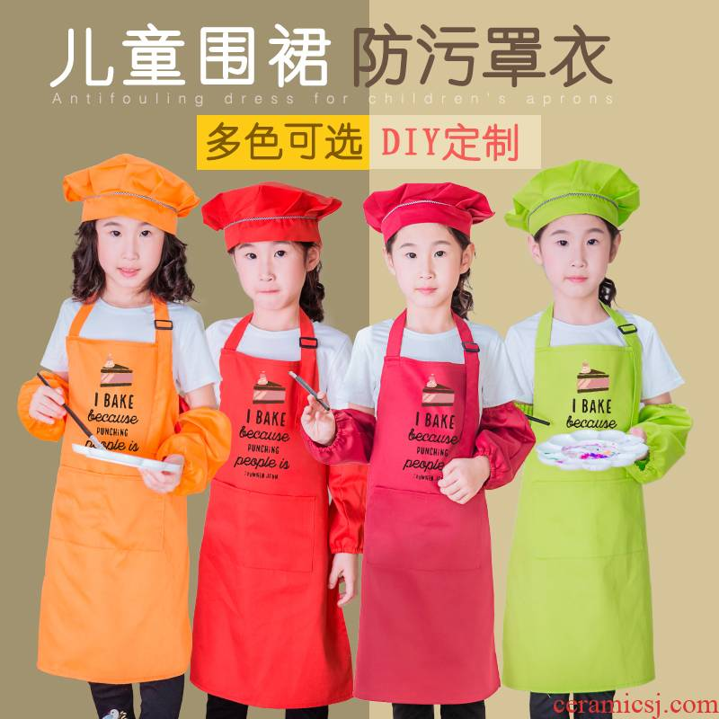 Thickening bib fine arts calligraphy handicraft class painting pottery painting takes antifouling chef hat children apron