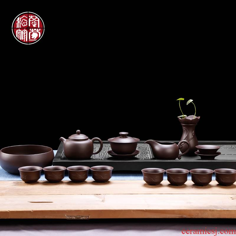 Household violet arenaceous kung fu tea set 6 people Chinese style restoring ancient ways is the gift box of a complete set of ceramic tea pot cup of office