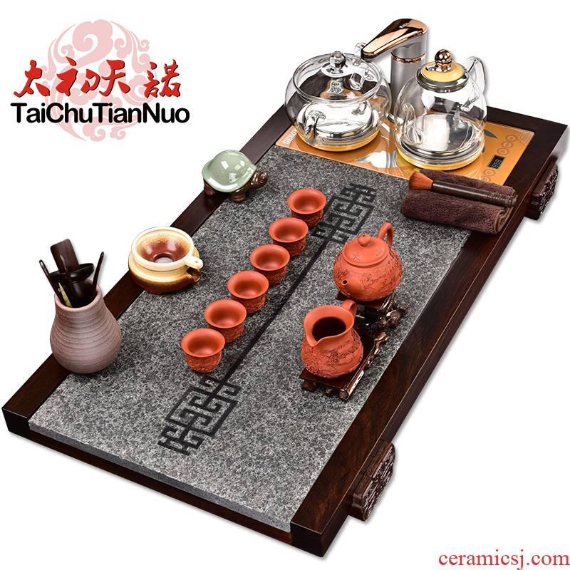 The beginning day, kung fu purple sand tea set automatic glass kettle furnace ebony annatto tea tray tea tea