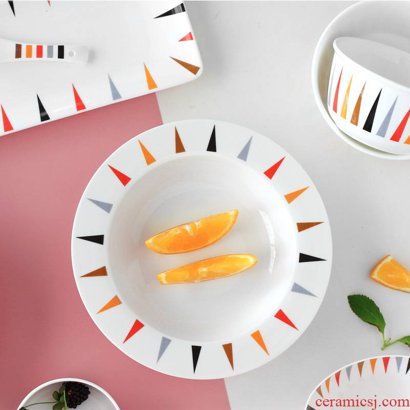 Zebra ceramic tableware series of household use plates spoon 0 sheet is tasted suit the optional creative combination rice bowls