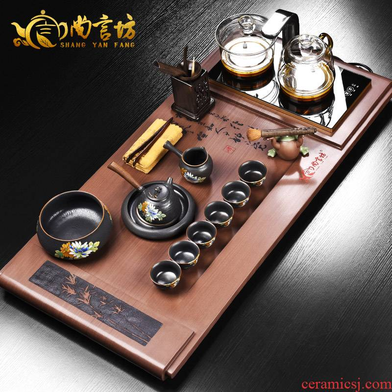 It still fang hai kung fu tea tray sets electromagnetism one household solid wood tea tea set four unity contracted and I