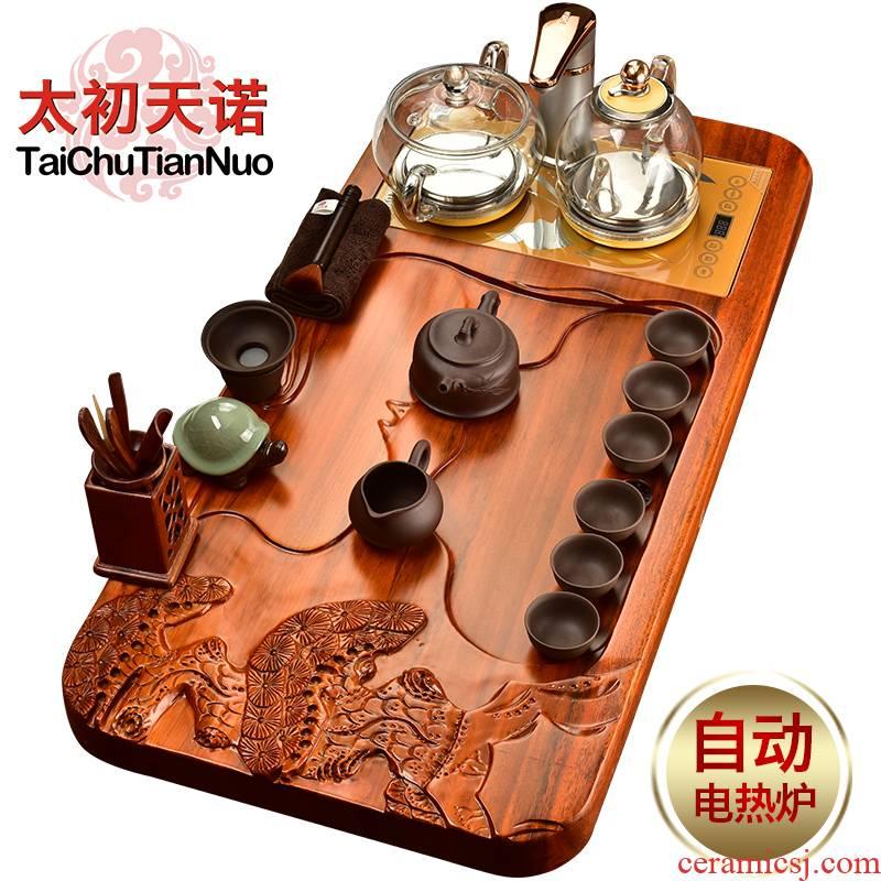 The beginning day, kung fu tea set solid wood tea tray was hua limu tea table purple sand tea set automatic electric furnace