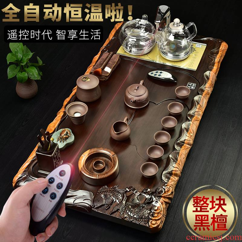 The beginning day, automatic solid wood tea tray ebony four unity of electric heating furnace purple sand tea sets tea tea taking
