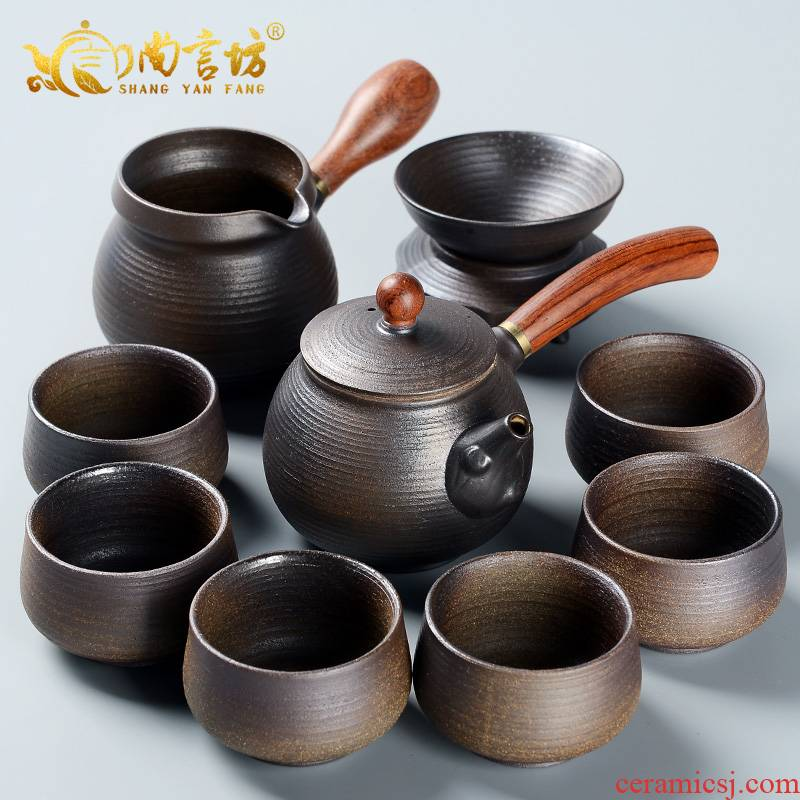 It still fang firewood kung fu tea set the home side by hand pot of thick ceramic tea set gift boxes restoring ancient ways