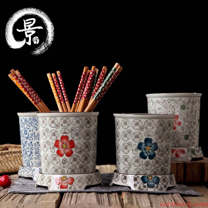 Ceramic tube under the glaze color chopsticks box Japanese chopsticks chopsticks box under the big drum jingdezhen glaze color creative chopsticks cage
